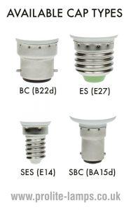 Available Cap Types - BC, ES, SES, SBC