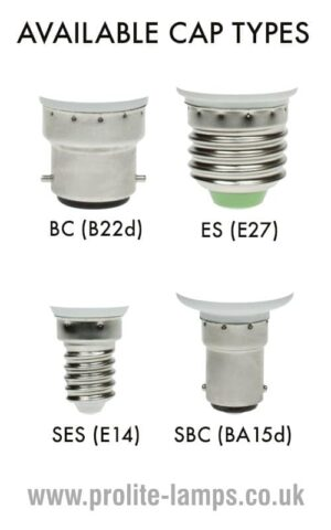 Available Cap Types - BC, ES, SES, SBC