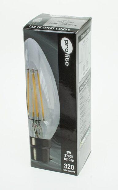 3w Led Filament Lamp Candle Bulb Prolite