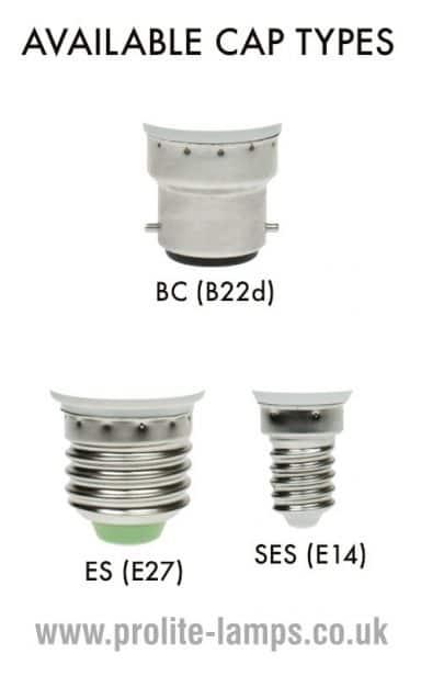 Available Cap Types - BC, ES, SES