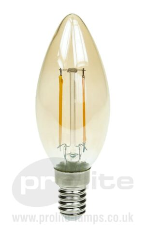 Gold Tint 2W LED Filament Candle