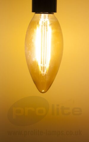 Gold Tint 2W LED Filament Candle Lit