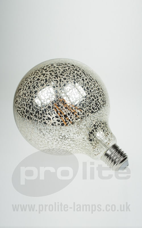 6w G125 Globe Crackle Glazed Led Filament Lamp 2200k